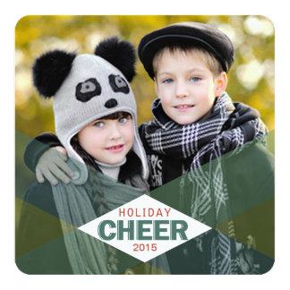 Holiday Cheer Green Plaid Photo Flat Cards