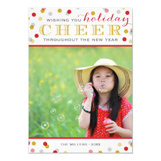 "Holiday Cheer Modern Christmas Photo Card 5"" X 7"" Invitation Card"