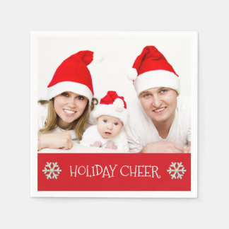 Holiday Cheer Modern Family Holiday Photo Napkins