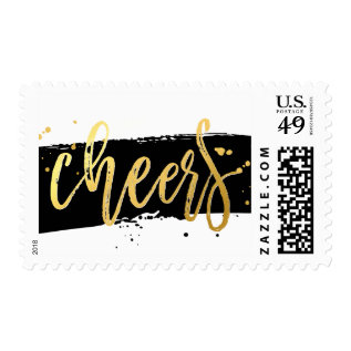 HOLIDAY CHEER modern hand lettered gold foil black Postage at Zazzle