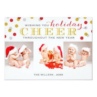 Holiday Cheer Modern Photo Collage Christmas Card