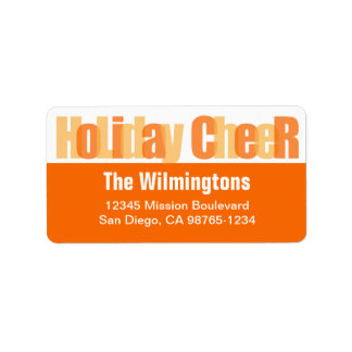 Holiday Cheer orange gold overlay return address Label