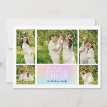 Holiday Cheer Pastel Iridescent Photo Card