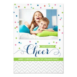 "Holiday Cheer Photo Cards   Colorful Confetti 5"" X 7"" Invitation Card"
