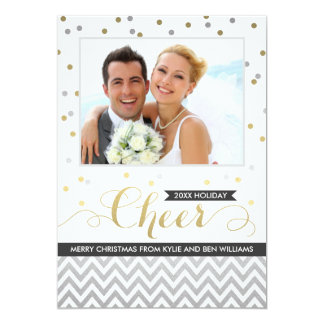 Holiday Cheer Photo Cards | Confetti and Chevron Personalized Invite