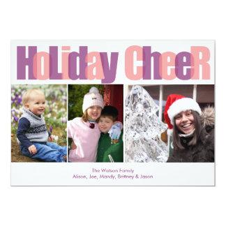 Holiday Cheer pink purple overlay Christmas photo Card