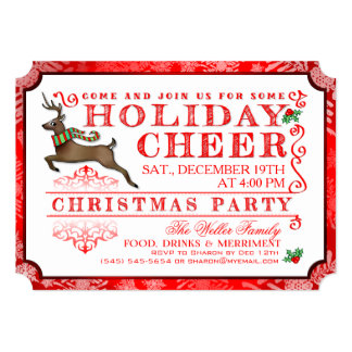 Holiday Cheer Reindeer Christmas Party Invitation
