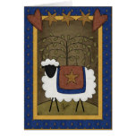 Holiday Cheer Sheep Country Scene - Blank Inside Greeting Cards