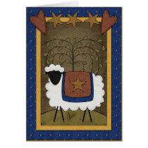 Holiday Cheer Sheep Country Scene - Blank Inside Card