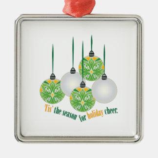 Holiday Cheer Square Metal Christmas Ornament