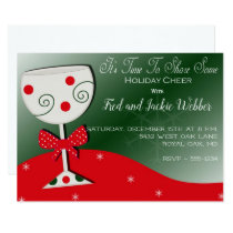 Holiday Cheer Wine Glass Christmas Party Card