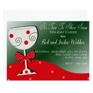 Holiday Cheer Wine Glass Christmas Party Card at Zazzle