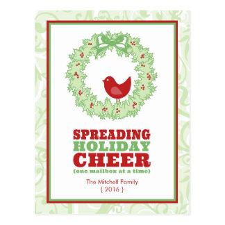 Holiday Cheer Wreath Christmas Postcard