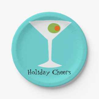 Holiday Cheers Martini Paper Plates