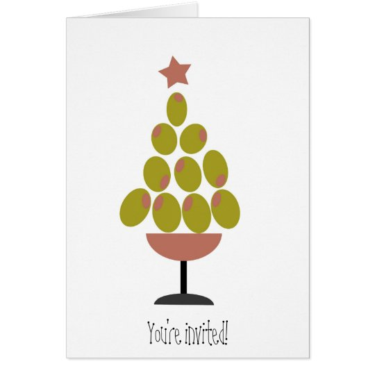 Holiday 'CHEERS!' Olive Tree design Card
