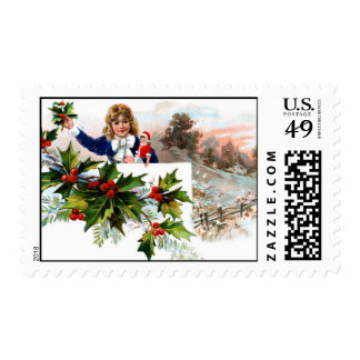 Holiday Child with Holly Stamps