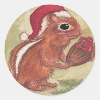 Holiday Chipmunks Round Stickers
