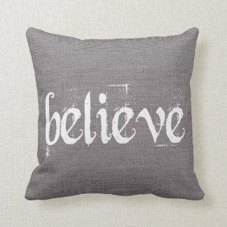 Holiday Christmas Believe Burlap Decor Throw Pillow