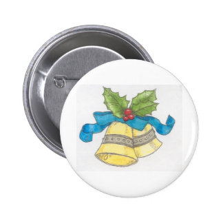 Holiday Christmas Bells Holly Blue Ribbon Design Button