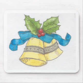 Holiday Christmas Bells Holly Blue Ribbon Design Mouse Pad