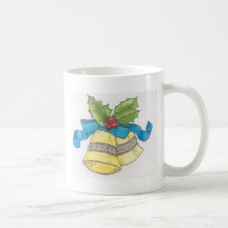 Holiday Christmas Bells Holly Blue Ribbon Design Mug