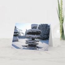 Holiday Christmas Card - Ornamental Snowy Tree