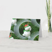 Holiday Christmas Card - Snowman In The Moon