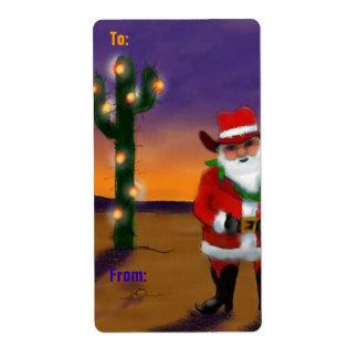 Holiday Christmas Desert Santa cactus Gift Labels