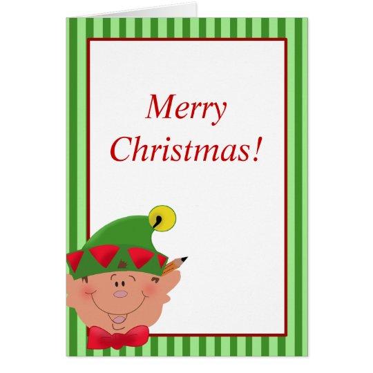 Holiday Christmas ELF Santa's helper Card