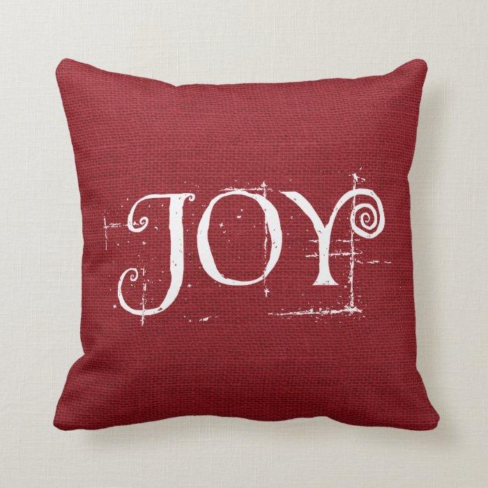 Joy Christmas Throw Pillows : Holiday Christmas JOY Burlap Decor Throw Pillow Zazzle