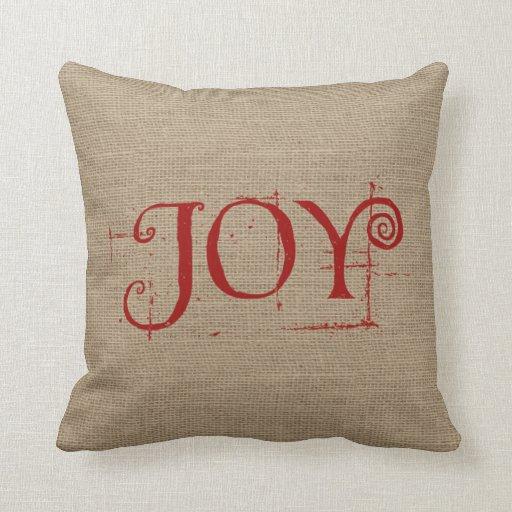 Joy Throw Pillows : Holiday Christmas JOY Burlap Decor Throw Pillow Zazzle