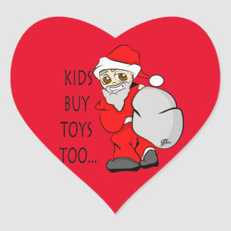 Holiday Christmas Kids Buy Toys Too Heart Sticker