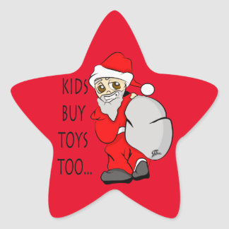 Holiday Christmas Kids Buy Toys Too Star Sticker