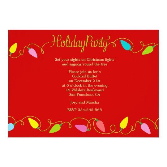 Holiday Christmas Lights Buffet Party Invites