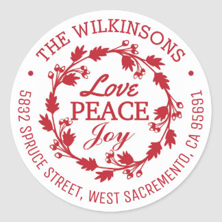 Holiday Christmas Love Peace Joy Address | Red Classic Round Sticker