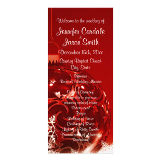 Holiday Christmas Ornament Red Wedding Programs Customized Rack Card