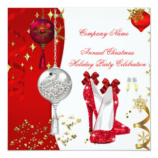 Holiday Christmas Party Champagne Heels Card