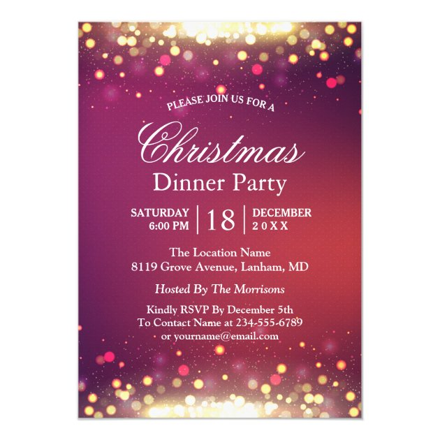 Holiday Christmas Party Glitter Gold Bokeh Lights Card