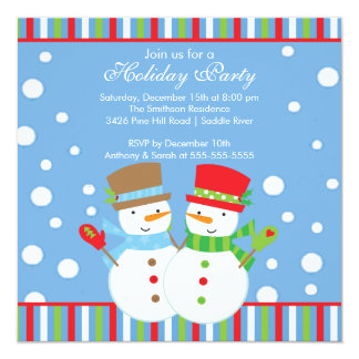 "Holiday Christmas Party Invitation SNOWMEN CUTE 5.25"" Square Invitation Card"