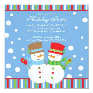 Holiday Christmas Party Invitation Snowmen Cute at Zazzle