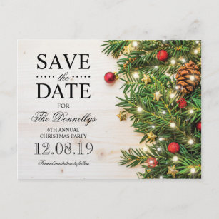 holiday christmas party save the date announcement postcard - Whens Christmas