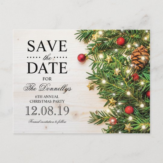 Christmas Save The Date.Holiday Christmas Party Save The Date Announcement Postcard