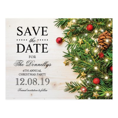 Christmas Party Save The Date Template Postcard Zazzle Com