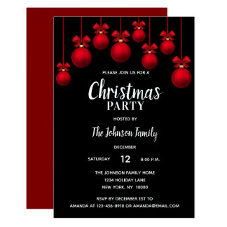 Holiday CHRISTMAS PARTY White Red Black Ornaments Card
