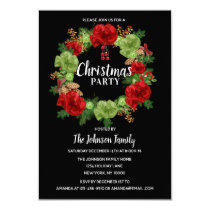 Holiday CHRISTMAS PARTY Wreath Black Red White Invitation
