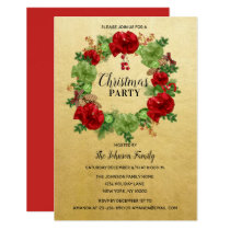 Holiday CHRISTMAS PARTY Wreath GOLD Red Green Invitation