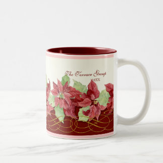 Holiday Christmas Poinsettia Business Personalized Two-Tone Coffee Mug