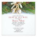 Holiday Christmas Ribbon Bridal Shower 5.25x5.25 Square Paper Invitation Card