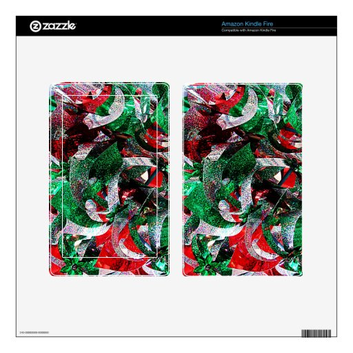 Holiday Christmas ribbons new year Red Green Flora Kindle Fire Skins