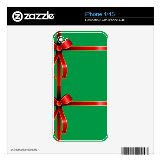 Holiday Christmas ribbons new year Red Green Flora Skins For The iPhone 4